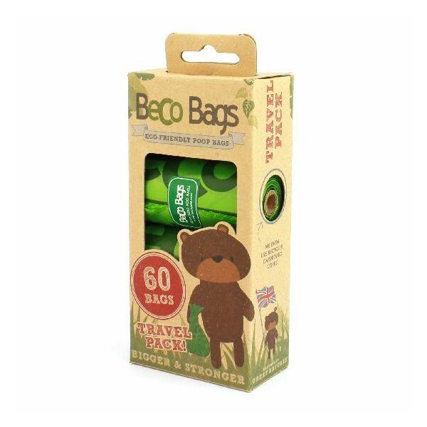 Lebomló kutyaürülék zacskó, 60 db, Utazó csomag, Beco Pet's
